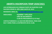 ABIERTA INSCRIPCION TEMP. 2020/2021