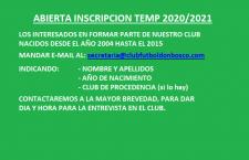 ABIERTA INSCRIPCION TEMP. 2020/2021