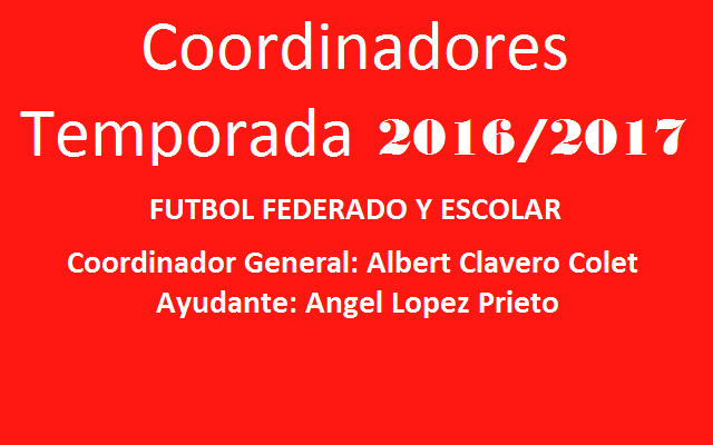 Coordinadores temporada 2016-2017